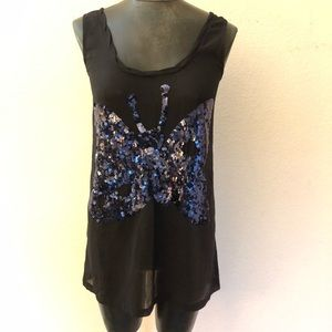 Sonia Rykiel Sequin Butterfly Sheer Tank Top